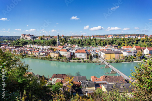 Panorama view over Burghausen, Bavaria, Germany