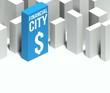 3d financial city conceptual model of downtown