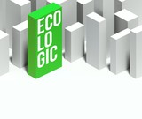 3d ecologic conceptual of city with distinctive skyscraper poster