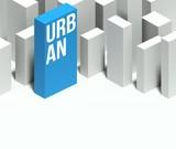 3d urban conceptual model of city with distinctive skyscraper poster