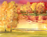 Watercolor autumn landscape collection
