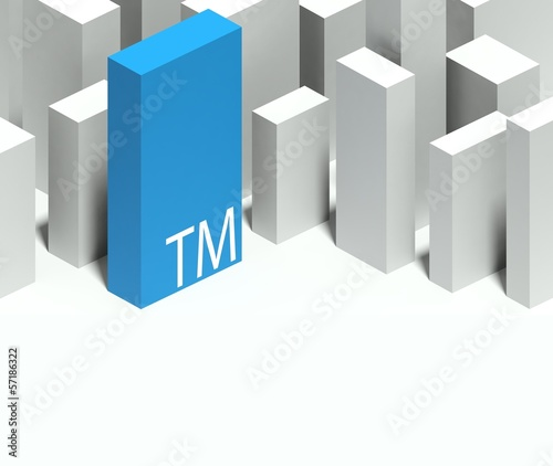 3d trademark symbol in conceptual model of city