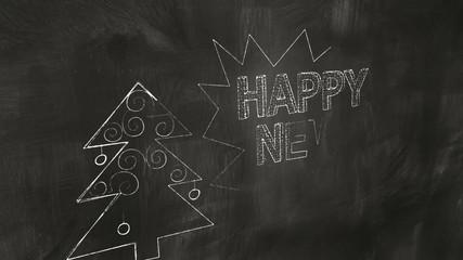 drawing new year greetings on blackboard