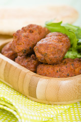 Koftas - Asian style meatballs served with salad and pita bread.