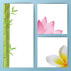 Exotic tropical flowers invitation card layout