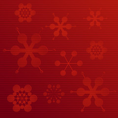 embossed paper snowflake background on red