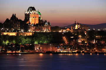 Quebec City skyline at dusk and Saint Lawrence River, Canada