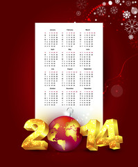 Calendar for 2014 with New Year background