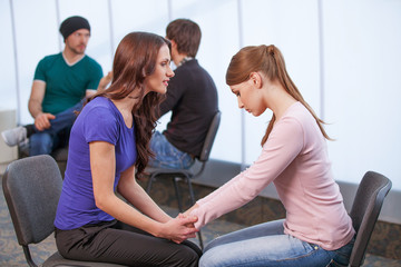 Psychologist listen to girl problem.