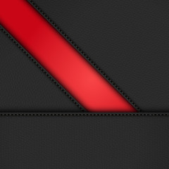 black leather diagonal panels background on red