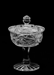 Antique bright crystal holder with lid