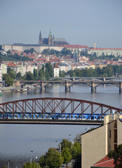 Railway bridge and Palacky bridge over the Vltava River