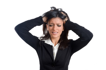 Frustration. Frustrated and stressed young businesswoman in suit