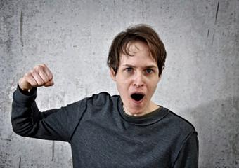 aggressive young man