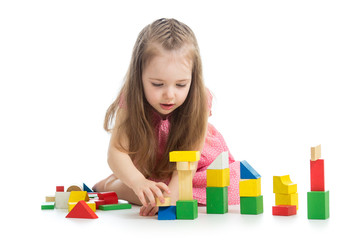 child girl playing with block toys
