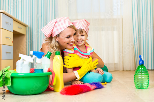 mother and kid ready to room cleaning
