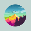 Colourful Countryside Vector illustration.