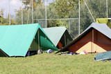 tents for sleeping installed on a campsite