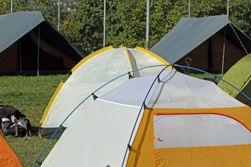 igloo tents and Canadian  tent camping in a scout camp