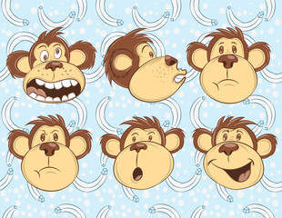 Illustration vector cute emotions of monkey