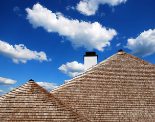 ..roof of wooden shingles
