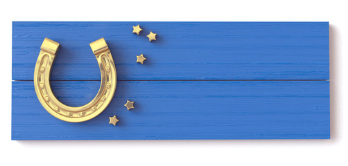 Golden horseshoe on a wooden blue board