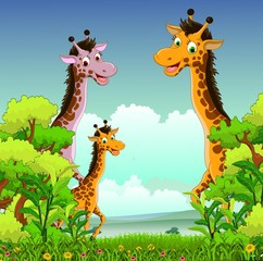 family of giraffe crtoon with forest background