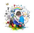 Leinwanddruck Bild - Boy Reading Education Book on White