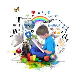 Boy Reading Education Book on White