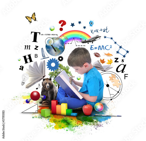 Leinwanddruck Bild Boy Reading Education Book on White