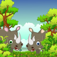 couple rhino cartoon with forest background