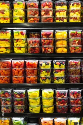 Display of Cut Fruit in Market