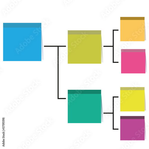 process diagram, note paper theme