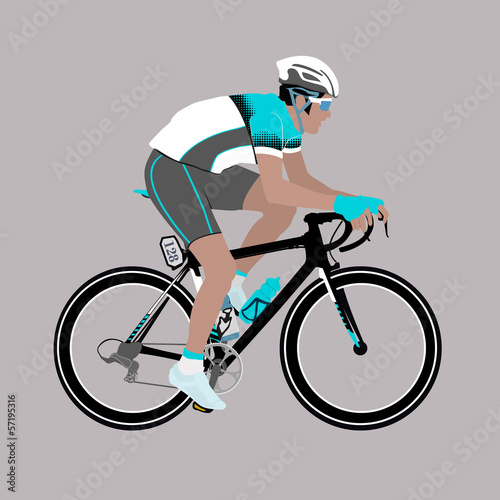 Vector Aqua-Green Grey Racing Cyclist Illustration