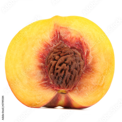 Half of Peach Isolated on White Background
