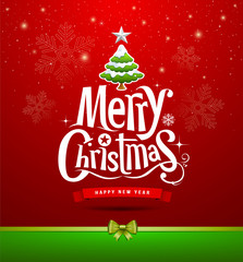 Merry Christmas lettering design background, vector
