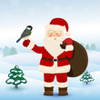 Santa Claus with bird  in winter forest, vector