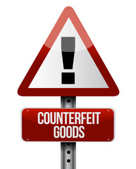 counterfeit goods road sign illustration