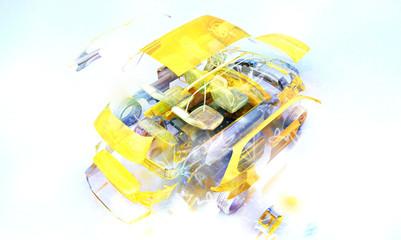 Auto Trasparente, Componenti, progetto 3d, tuning