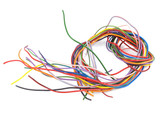 Close up of multicoloured six amp electrical wire