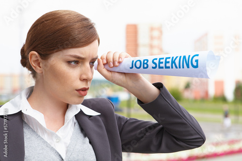 "Businesswoman. ""Job seeking"" concept."