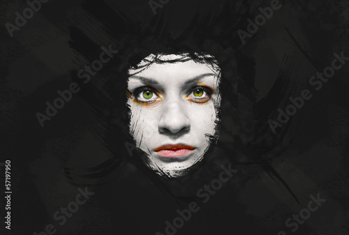 Creepy girl face on dark grunge background