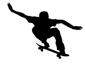 silhouette of a skateboarder on white background
