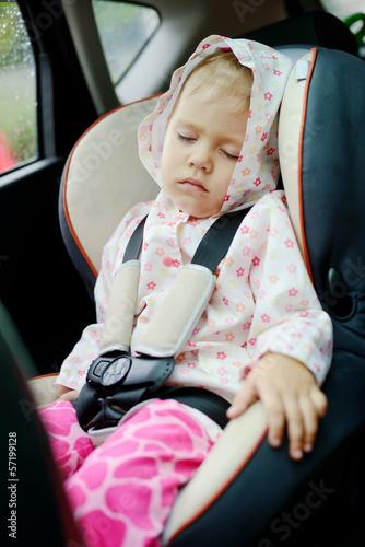 girl sleeping in car