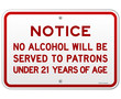 Alcohol Notice 21 Years