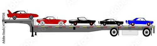 muscle cars on trailer for transport