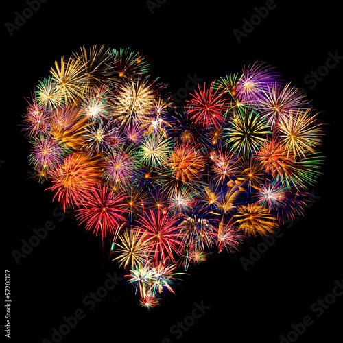 Leinwandbild Motiv Herz - Feuerwerk