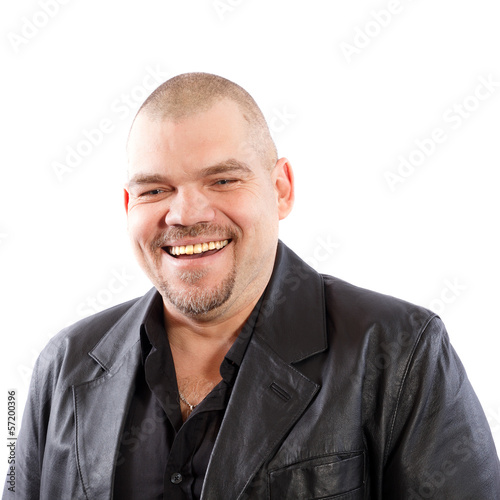 smiling man in black leather jacket