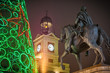 Obrazy na płótnie, fototapety, zdjęcia, fotoobrazy drukowane : Felipe III statue in the Puerta del Sol of Madrid at Christmas