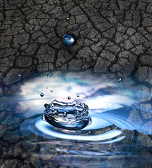 fresh water drops and dry earth - ecology concept